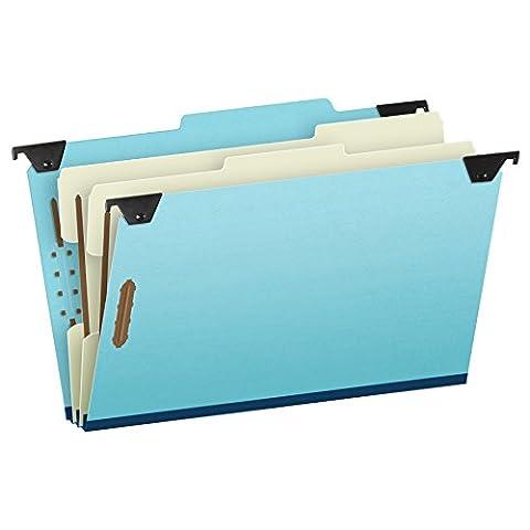 Pressboard Hanging Classi-Folder, Six-Section, Legal, Blue, 10/Box