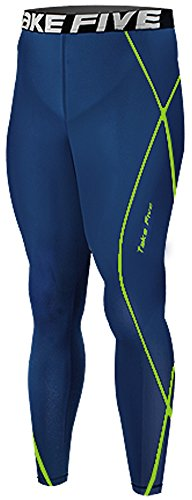 New 209 Navy Skin Compression Tights Base Layer Running Pants Men - Sporting Goods Running Gear Sports Apparel, Uv Protective Performance Base Layer Cycling Apparel, Health Fitness Crossfit Clothing For Men (L)
