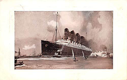 White Star Line Cunard Ship Post Card, Old Vintage Antique Postcard RMS Lusitania & Mauretania Unused -