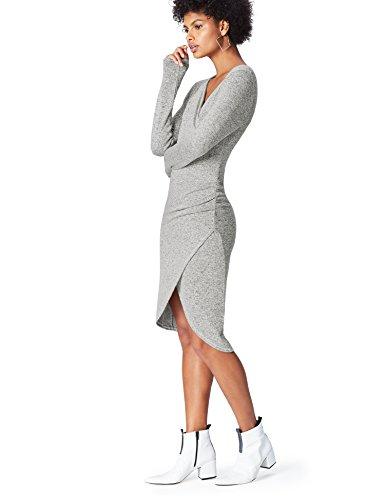 FIND Vestido Drapeado para Mujer, Gris (Grey), 36 (Talla del Fabricante: X-Small)