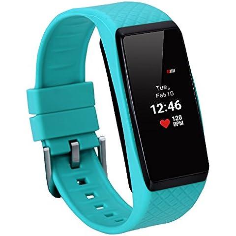 Inchor Wristfit HR - Impermeable Ajustable Smartwatch Reloj de Pulsera Android IOS (Pantalla OLED, Bluetooth, Ritmo Cardíaco, Podómetro, Monitor del Sueño, Recordatorio de Llamada y Mensaje)