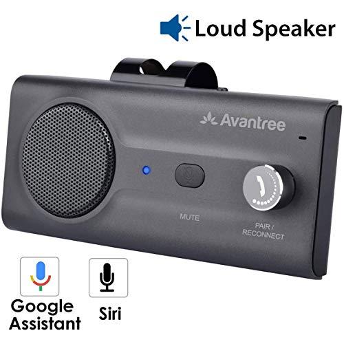 Avantree CK11 NUOVO Kit Vivavoce Bluetooth per Auto, College a Siri e a Google Assistant, Auto Accensione, con altoparlante potente da 2W, Connettività Dual Link con Clip per Aletta paraso