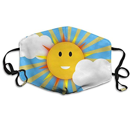 Smiling Summer Sun Shining On Blue Sky with Cloud Anti Dust Breathable Face Mouth Mask for Man Woman