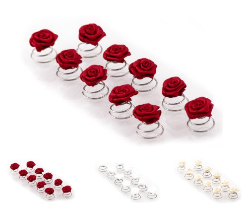 Épingles en spirale ornées de roses - accessoire pour cheveux/coiffure de mariée - 10 pièces - rouge bordeaux