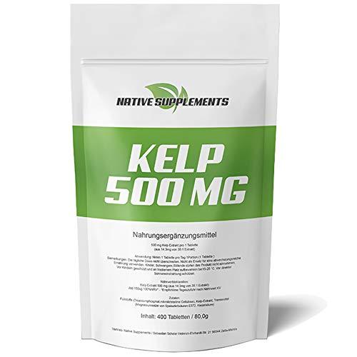 Kelp Extrakt, 400 Tabletten, 500mg Kelp mit 150mcg natürlichem Jod/Tablette, für Veganer geeignet, See Algen, Entschlackung -