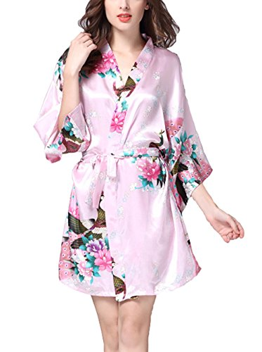Lannorn Damen 12 Farben Morgenmantel Kimono aus Satin Seide Robes Kurz Pfau und Blüten Nachtwäsche Bademäntel S-XL Rosa