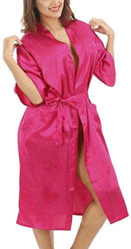 FLYCHEN Sexy Femme Long Peignoir Soyeux Robe de Nuisette Sleepwear Deshabille Couleur Unie Rose Rouge-4