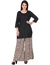 Vastra Vinod Black Cotton Kurta With Palazzo Pant