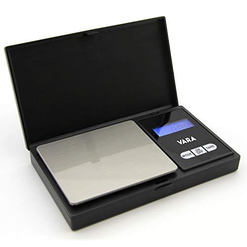 VARA Digitale Taschenwaage 200g/0,01g, mit aufklappbarem Schutzdeckel, inklusive 2 x AAA Batterien – Digital-Waage, Fein-Waage, Küchen-Waage, Präzisionswaage, Elektronische Waage