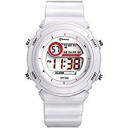 Sport LED Luminous Alarm Digital Watch Waterproof Pvc Strap Quartz Children Wrist Watch,White