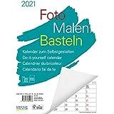 Foto-Malen-Basteln A4 weiß Notice 2021: Bastelkalender zum Selbstgestalten. Edler Fotokalender mit festem Fotokarton und Plat