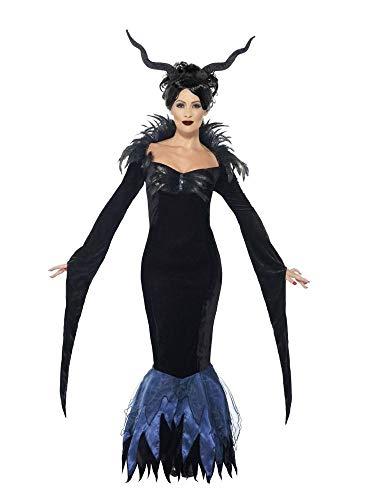 Gothic Queen Kostüm - Damen Kostüm Lady Raven schwarzes Kleid mit Federn Vampirin Evil Queen Maleficent Rabe Halloween Gothic Märchen, Größe:M