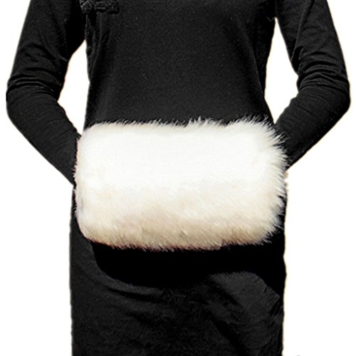 Muff Handwärmer Faux Fur Hand Muffs, Cremeweiß Frauen Faux-Kaninchen-Pelz Muffs (Weiß)