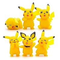 6 pcs Pokemon Pikachu Cake Topper Mini Toy Figures For Decorations