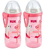 NUK 10255337 First Choice Kiddy Cup 300 ml mit robuster Kunststoff-Trinktülle, auslaufsicheres und leichtgängiges Ventil, BPA frei, rosa, 2er Pack (2 Flaschen)