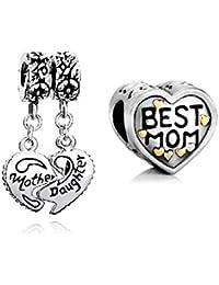 Pugster 2pcs Heart Mother Daughter Sale Cheap Beads Love Mum Bundle Sets Charms fit Pandora Bracelet