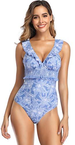 SHEKINI Damen Brazilian Einteiliger Bikini Rüsche Tief V-Ausschnitt Monokini Rückenfrei Blumenmuster Bikinis Gepolsterte Pads Volant Badeanzug (Medium, Blau)