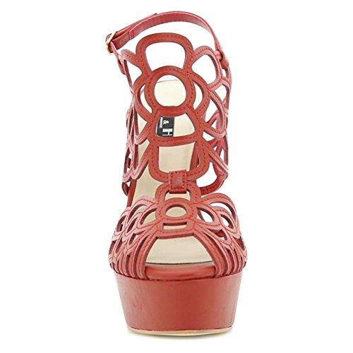 Toocool - Scarpe donna sandali traforati cinturino tacchi alti ROSSO Queen Helena S2415RD Rosso