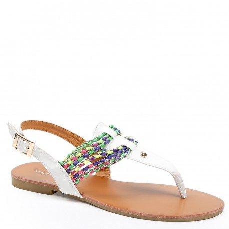 Ideal Shoes - Sandales plates avec lanières tressées et colorées Maiane Blanc