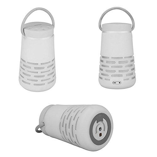 Meijunter Tragbares Trage Silikon Gehäuse Schlinge Hülse Etui Case für Bose SoundLink Revolve+ Bluetooth Lautsprecher,Schlagfest,Leicht zu tragen,Revolve+ Flexibel Schutzhülle Mesh Tasche (Weiß)
