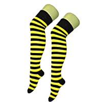 Yellow And Black Striped Over The Knee Stocking Socks - Bumble Bee