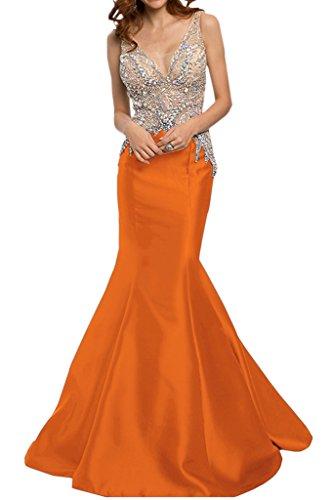 Ivydressing Damen Luxurioes Strass Rueckenfrei Mermaid Satin Lang Promkleid Festkleid Abendkleider Orange