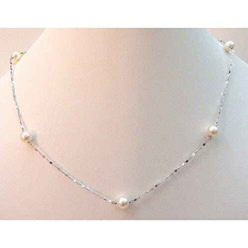 Comete Gioielli - Collana girocollo Comete in oro bianco 18 kt carati con perle
