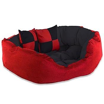 dibea Lit/Coussin/Canapé Lavable avec Coussin Réversible pour Chien Rouge/Noir 65 x 50 x 20 cm