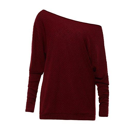 BAINASIQI Damen Elegant Langarm Schulterfrei Pullover Sweater Übergroß Strickpullover Bluse Tops Oberteil Rotwein