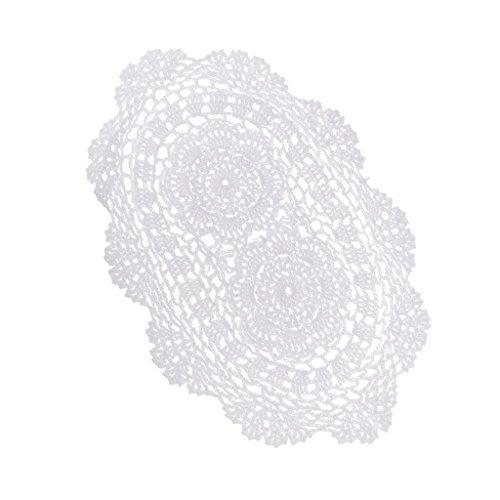Sharplace Oval Formen Weiß Häkeln Baumwolle Spitze Deckchen Tisch Tischsets Deckchen Mat