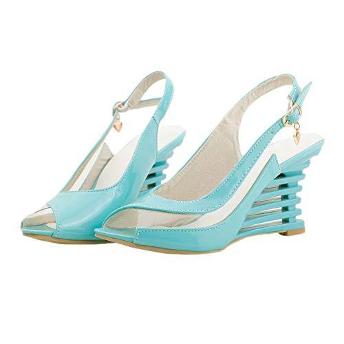 GENL Frauen Keilabsatz Sandalen patent pu transparent Panel Schnalle offene Spitze Schuhe,Blue-4.5 (Schnalle Patent Sandale)