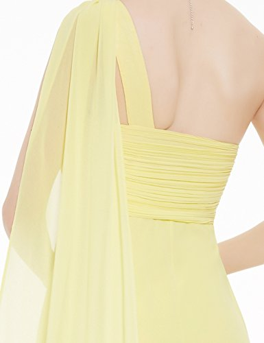 Ever Pretty Damen Lange One Shoulder Chiffon Abendkleider Festkleider 09816 Gelb