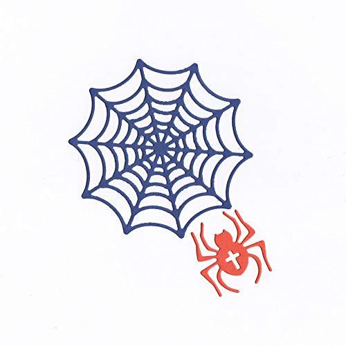 WOZOW Stanzschablone Scrapbooking Süß Prägeschablonen Schablonen Stanzmaschine Stanzen Stanzformen für Geschenk Verpackung Halloween Dekoration (H Spinne und Spinne)