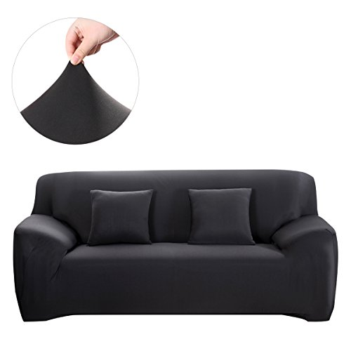 WINOMO Sofa Cover Furniture Protector 2pcs Pillow Cases Elastic Black