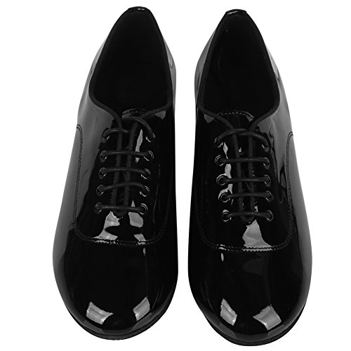 Swdzm Hommes Chaussures De Danse Latine En Cuir Véritable Salle De Bal Af-102 Bright Black-2