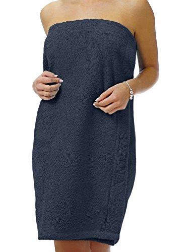 Saunatuch Uni Sarong-Saunakilt für die Dame, Farbe: blau mit Strickerei in ÜBERGRÖßE XL mit Klettverschluss