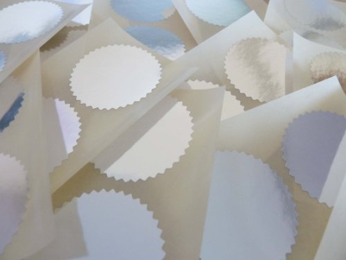 Mini Aufkleber Packung mit 24 (Vierundzwanzig), 42mm Wellenkanten, glänzend silberne, Zertifikat Waffel Company Siegel-Etiketten, Sticker für Prägung, Gesetzlich & Auszeichnungen