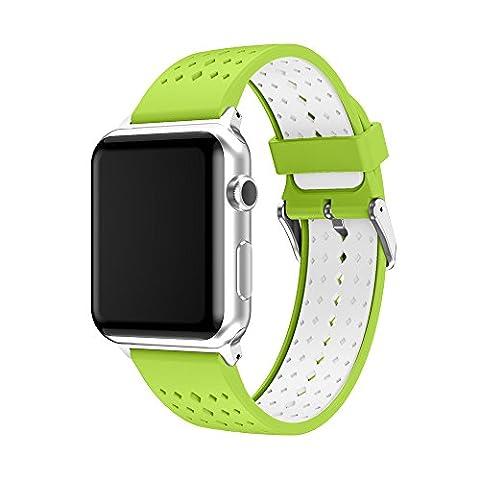 Bracelet de montre 42mm, Happytop Coque en silicone Bracelet de remplacement Bracelet pour Apple Watch Série 1/2 S Green