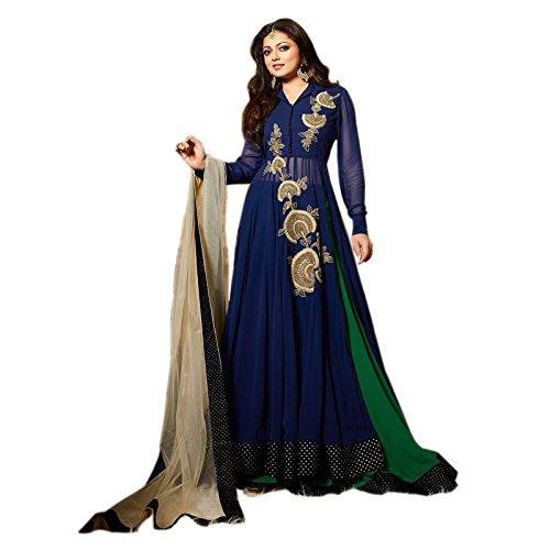 Generic Women's Faux Georgette Dress (ERRRR100727_Blue_Free Size)