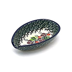 Polish Pottery Spoon Rest – Burgundy Berry Green