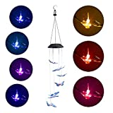 Festnight Solar Power Wind Bell Lights Color Changing Wind Chimes Spiral Spinner Portable Wind Mobile Waterproof for Patio Yard Garden Home Outdoor Indoor Decor