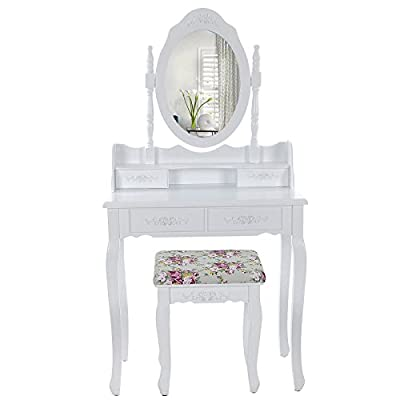 Songmics white 4 drawers Dressing Table Set 145 x 75 x 40 cm with swivelling mirror and stool RDT77W - cheap UK dressing table shop.
