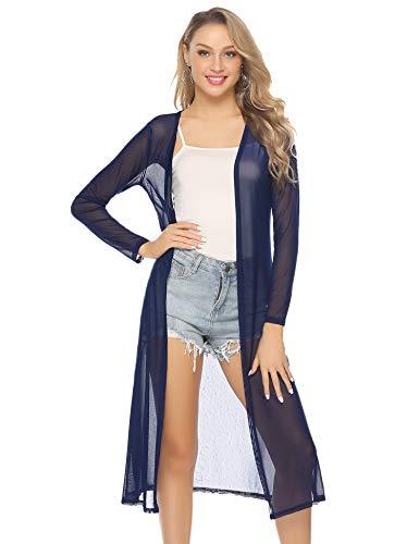 Abollria Damen Sommer Cardigan Leichte Lange Jacke Transparente Offene Strickjacke mit Seitenschlitze,Blau,XL