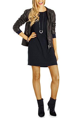 Bestyledberlin Damen Pulloverkleider, Relaxed Fit Langarm Strickkleider, Knielange Oversize Kleider t52z schwarz m/l (V-neck Top Low-cut-tiefer)
