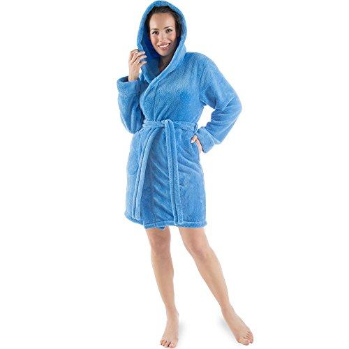 Damen Bademantel mit Kapuze, flauschiger Sherpa-Fleece, kurzer Saunamantel für Wellness Spa, CelinaTex 5000517 , Trend Morgenmantel Serie Korfu M blau