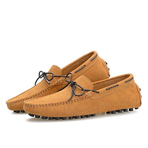 XiaoYouYu Moccassins Homme Suède Cuir Plats Slip-on Loafers Loisirs Chaussures de conduite Marron Clair