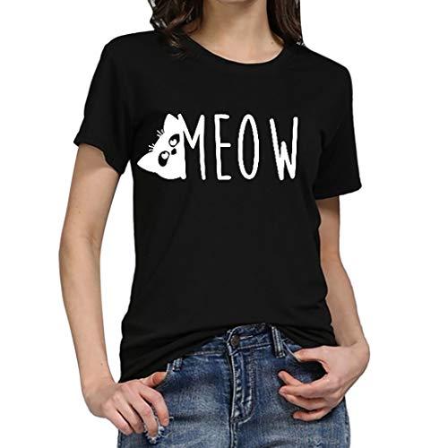 (TWIFER Damen Katze Sommer Shirt Mädchen Logo Gedruckt Tees Shirts Kurzarm T Shirt Bluse Tops)