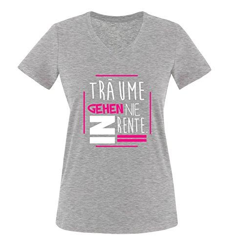 Comedy Shirts - Träume gehen nie in Rente. - Damen V-Neck T-Shirt - Graumeliert / Weiss-Pink Gr. L (Damen-t-shirt Götze)