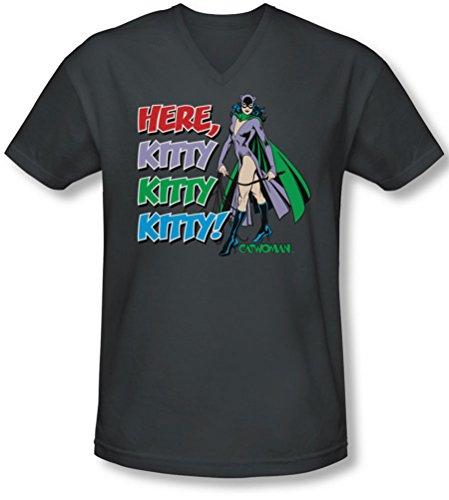 Dc - Männer Hier Mieze V-Neck T-Shirt Charcoal