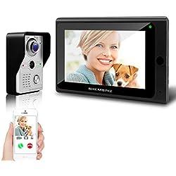 SHEMSINZ Système d'interphone vidéo de porte sans fil, 1x moniteur Wifi 7 pouces + 1x caméra de porte filaire 720P, système d'entrée de porte de villa à écran tactile